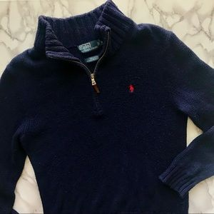 Polo Ralph Lauren Navy Blue Quarter-Zip Sweater